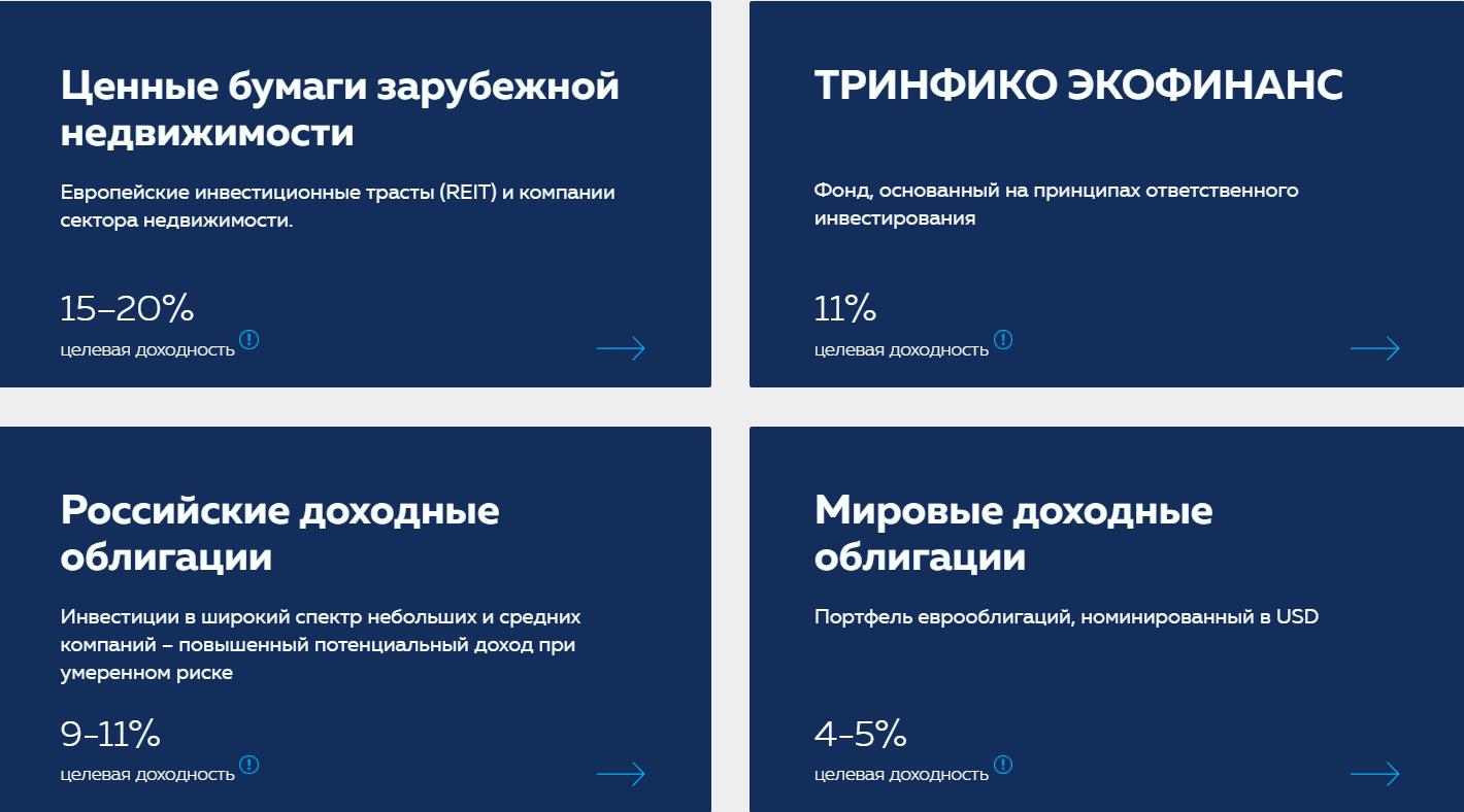 Предлагаемые услуги ИК ТРИНФИКО